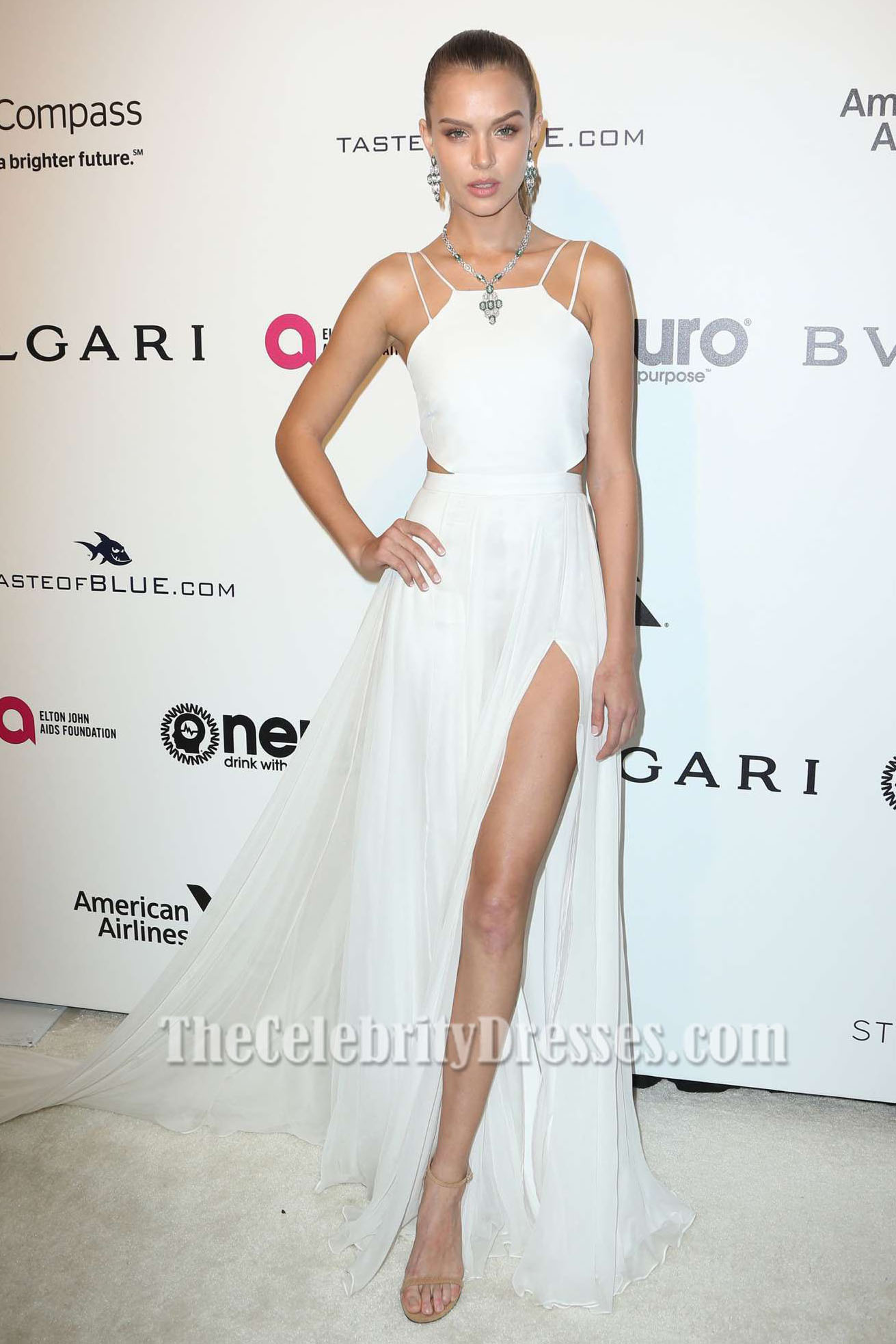 Josephine Skriver White Evening Prom Dress Elton John AIDS ...