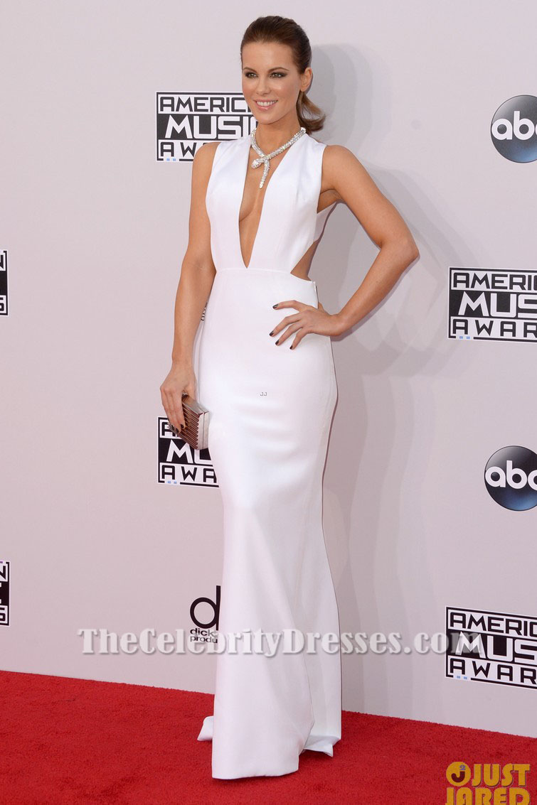 Kate Beckinsale Sexy White Evening Gown 2014 American Music Awards ...