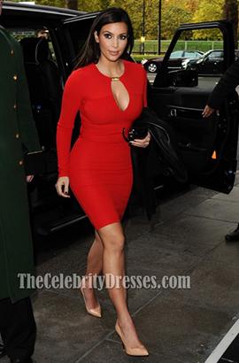 Kim Kardashian Red Short Long Sleeve Bandage Cocktail Party Dresses