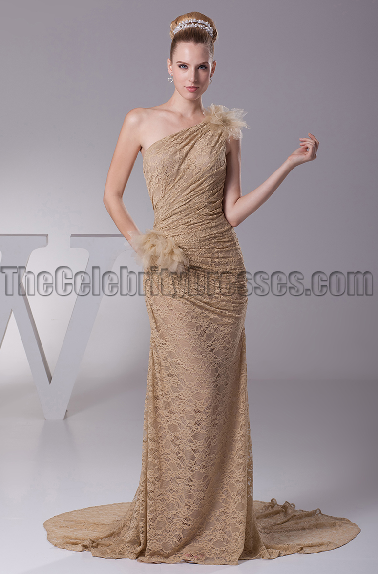 Champagne Lace One Shoulder Prom Gown Evening Dresses ...