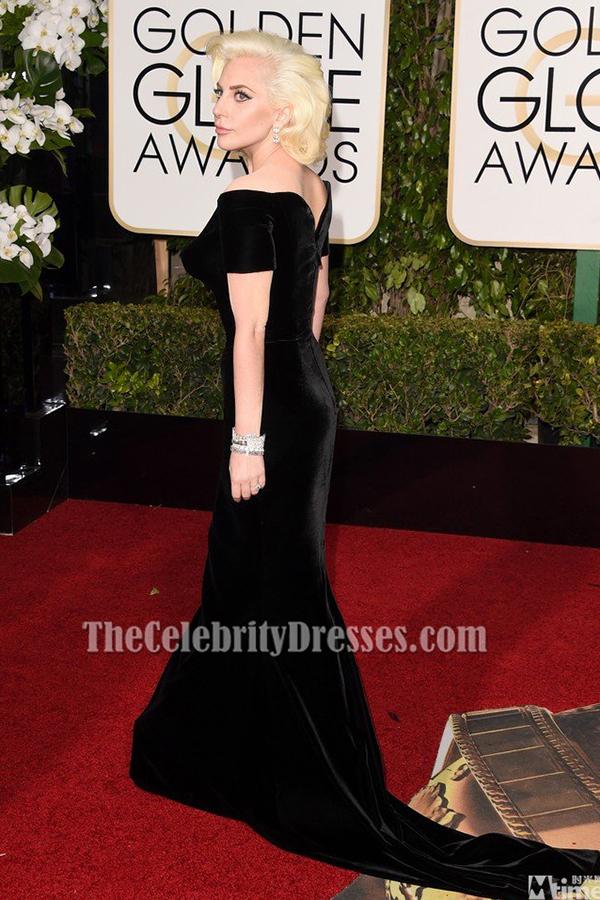 Lady Gaga Black Velvet Formal Dress Golden Globes 2016 Red Carpet Gown Thecelebritydresses
