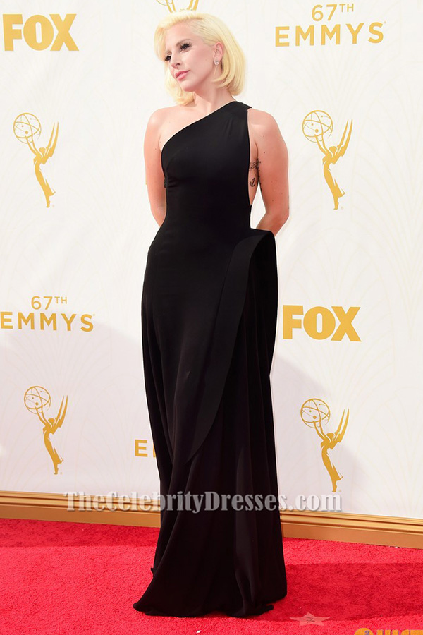 Lady Gaga Emmys 2015 Red Carpet Black One Shoulder Formal Dress ...