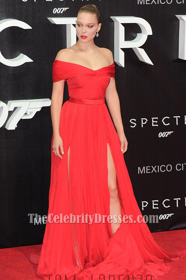 Lea Seydoux Red Off-the-Shoulder Evening Dress 'Spectre' Mexico ...