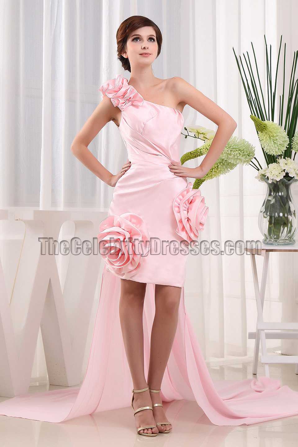 Pearl Pink One Shoulder Party Prom Dresses Thecelebritydresses