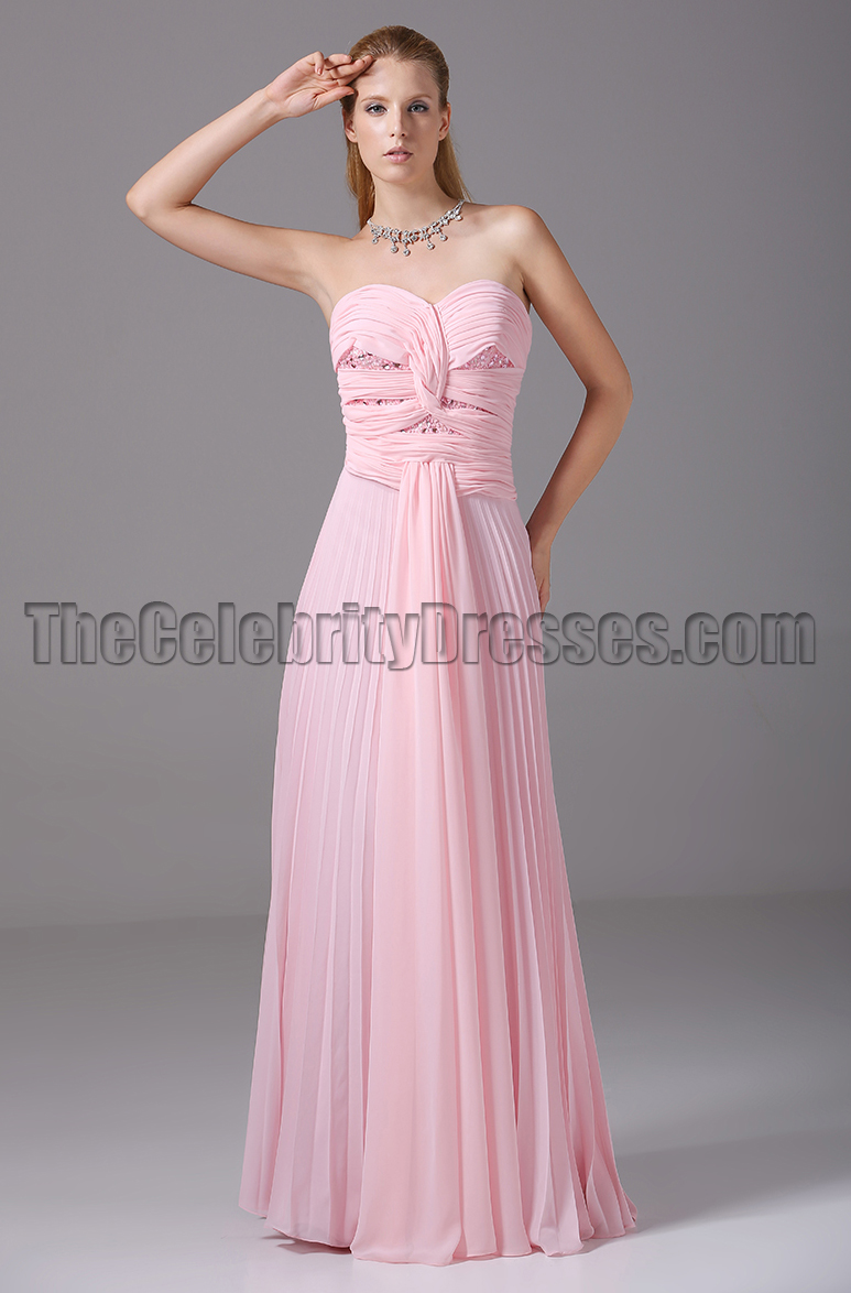Pink Strapless Prom Gown Bridesmaid Evening Dresses ...