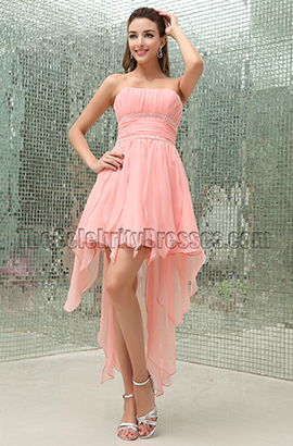 e294c87204 Celebrity Inspired Pink Strapless High Low Cocktail Party Dresses -  TheCelebrityDresses