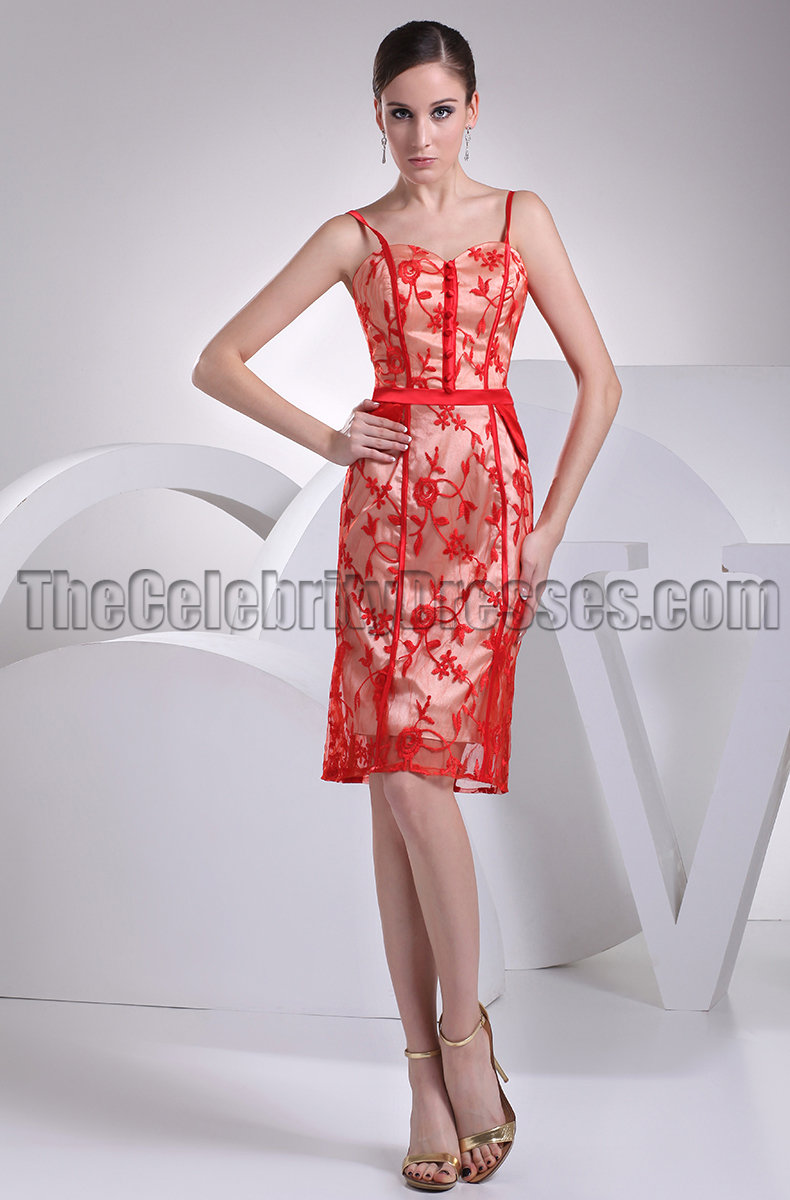 Red Lace Knee Length Dress