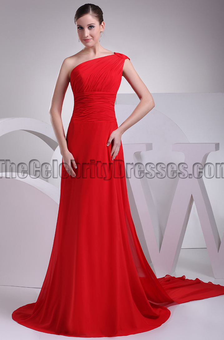446e83ca3370 Elegant Red One Shoulder Chiffon Prom Bridesmaid Dresses -  TheCelebrityDresses