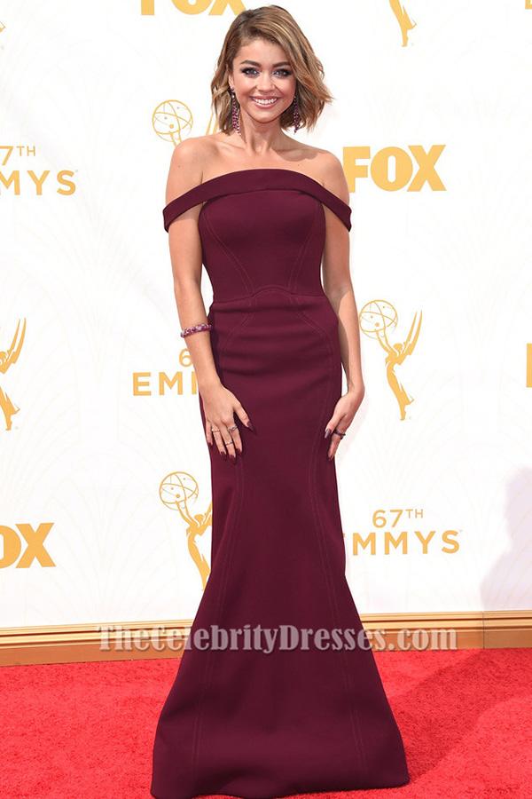 Sarah Hyland Burgundy Off The Shoulder Formal Dress 2015 Emmy Awards