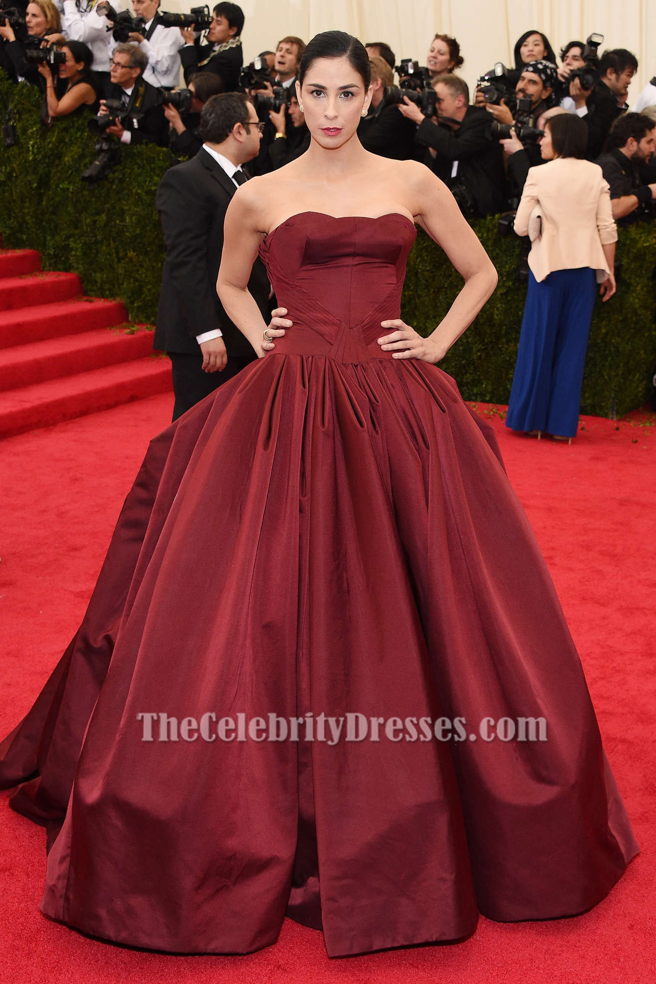 Sarah silverman burgundy ball gown quinceanera dress 2014 met gala red carpet thecelebritydresses - Dresses from the red carpet ...