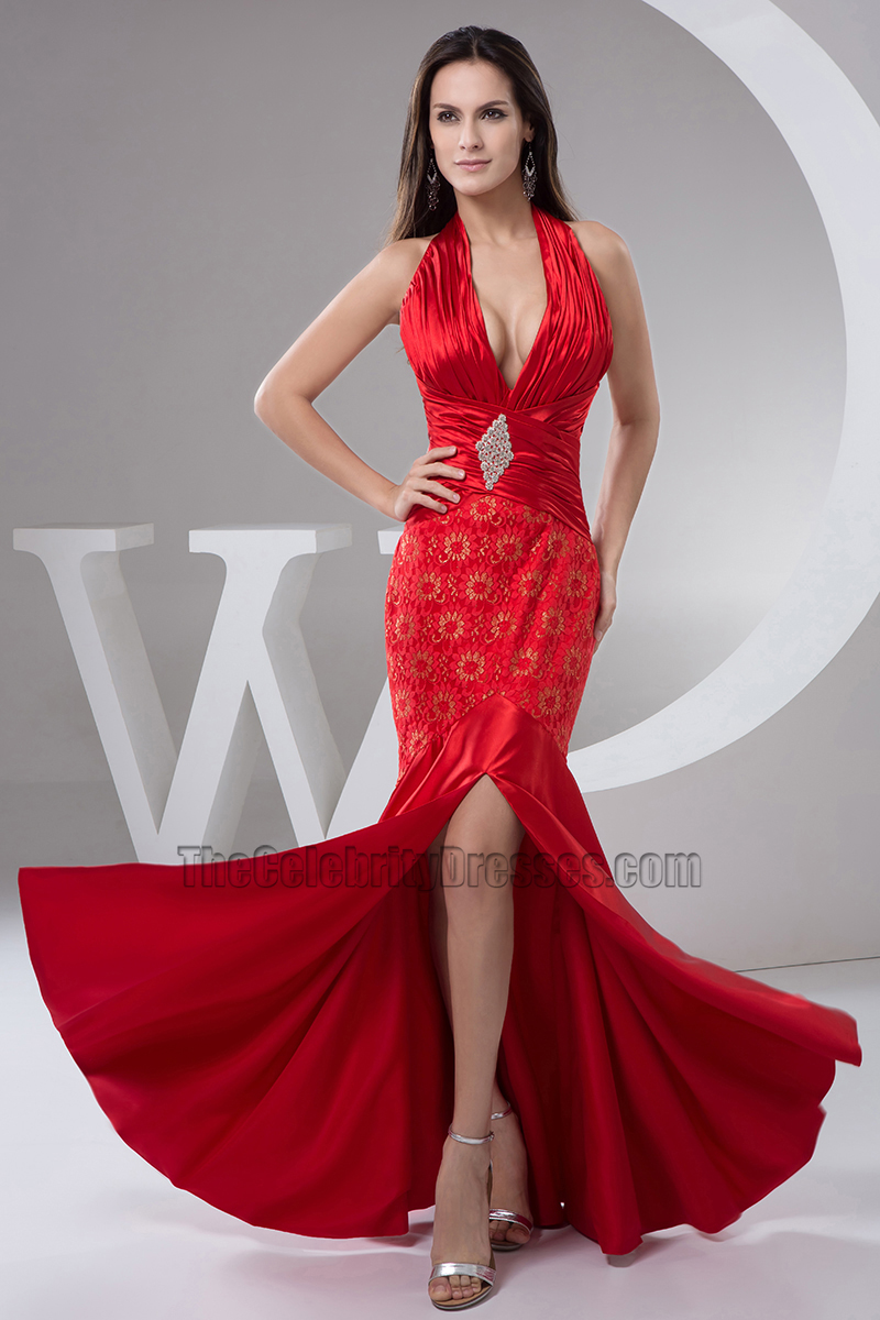 Sexy Red Halter Mermaid Evening Dress Prom Gown Thecelebritydresses