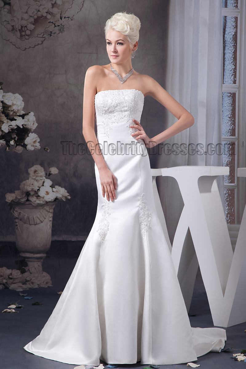 Trumpet mermaid strapless embroidered chapel train wedding for Chapel train wedding dress