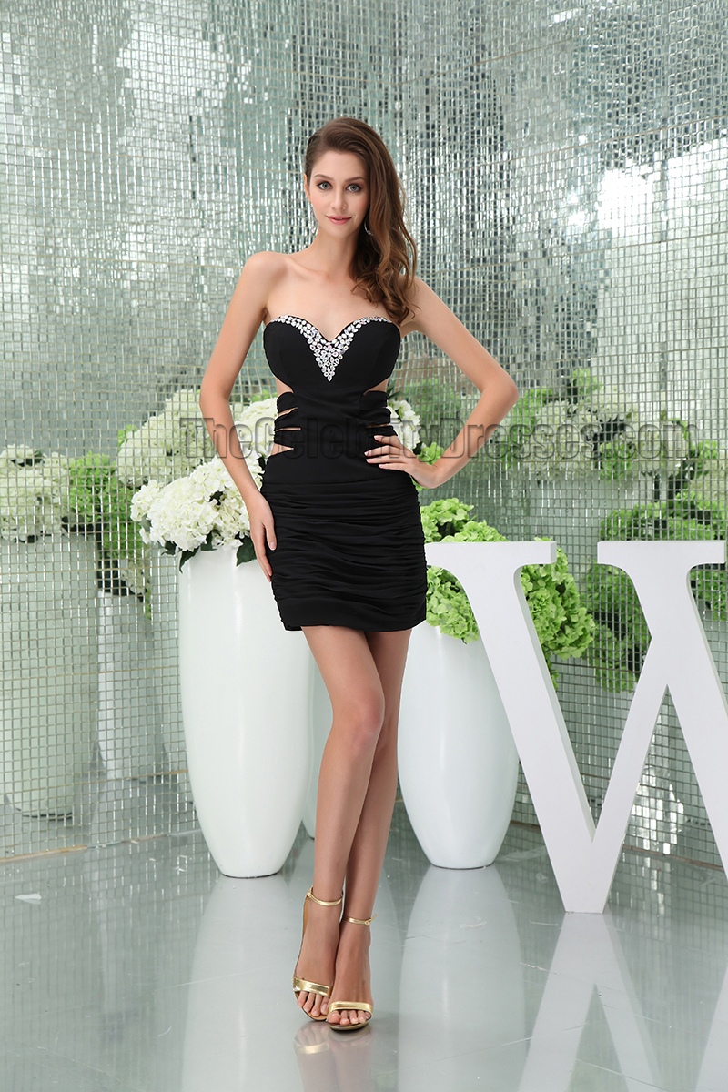 Short /Mini Black Cut Out Strapless Beaded Party