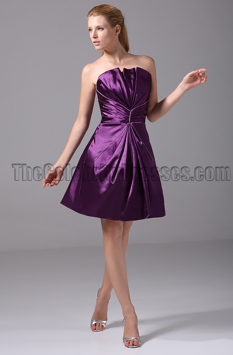 Short Purple Strapless Bridesmaid Graduation Party Dresses ...