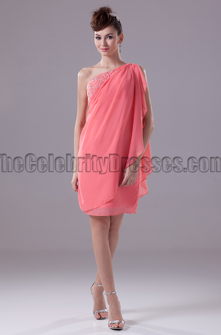 Watermelon One Shoulder Chiffon Party Tail Dresses Thecelebritydresses