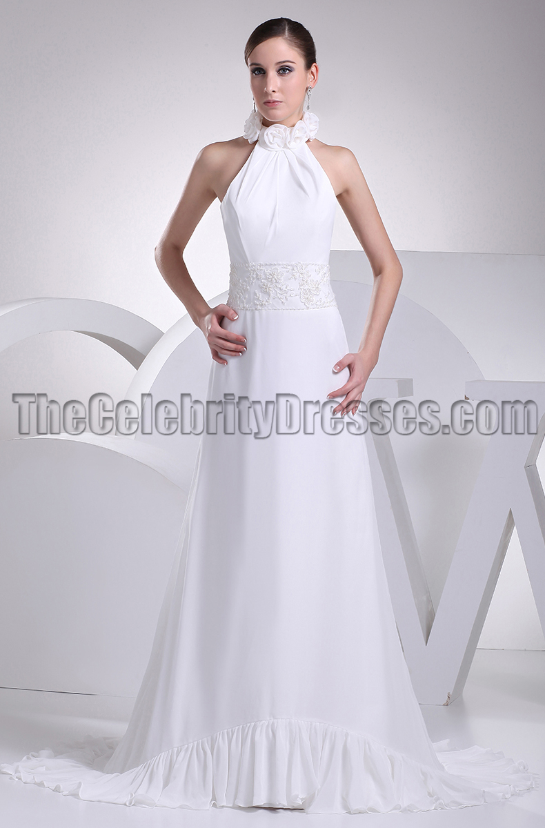 White Halter Backless Prom Gown Evening Dresses - TheCelebrityDresses