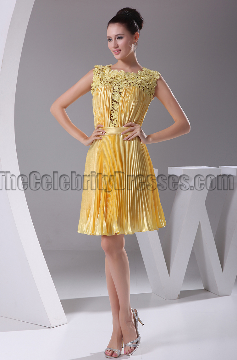 Short Yellow Lace A Line Party Homecoming Graduation