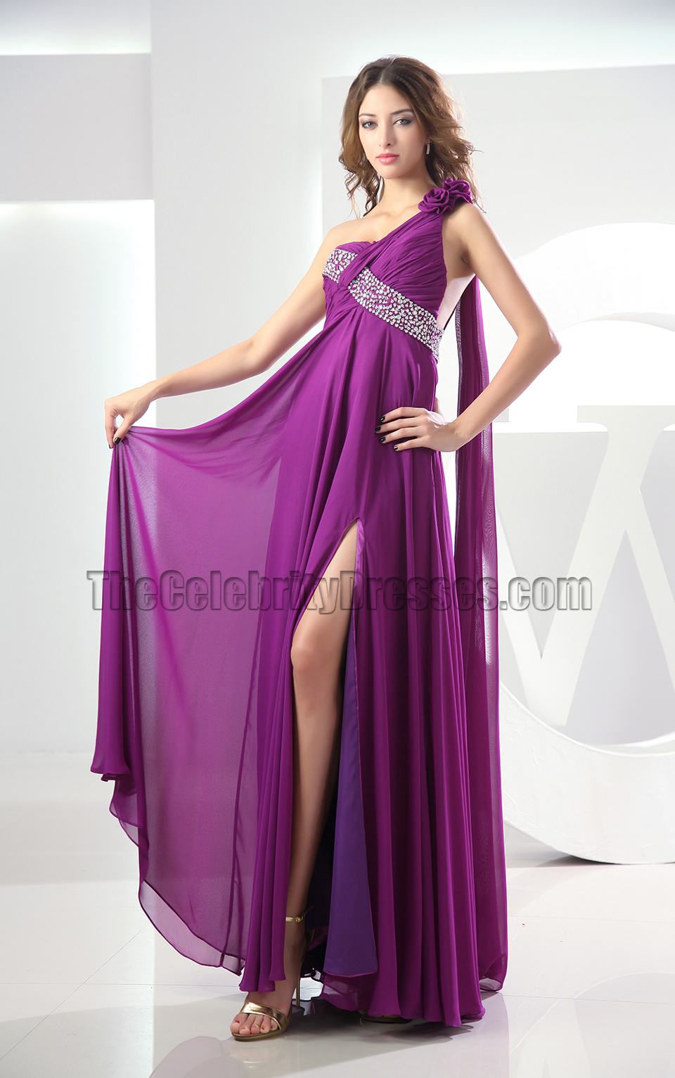 Sexy Backless Purple One Shoulder Prom Gown Evening Dress - TheCelebrityDresses