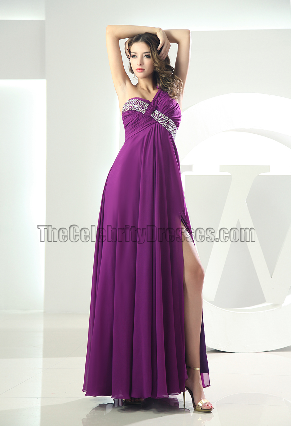 Sexy Backless Purple One Shoulder Prom Gown Evening Dress ...