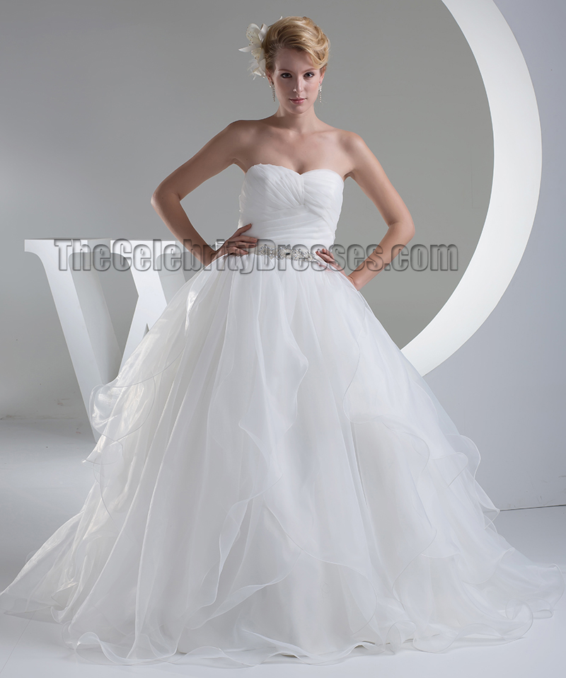 Ball Gown Organza Sweetheart Strapless Wedding Dress