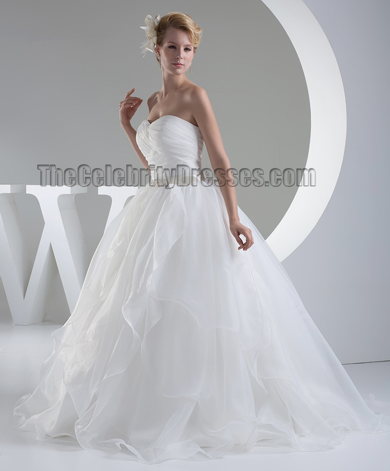 Ball Gown Organza Sweetheart Strapless Wedding Dress ...