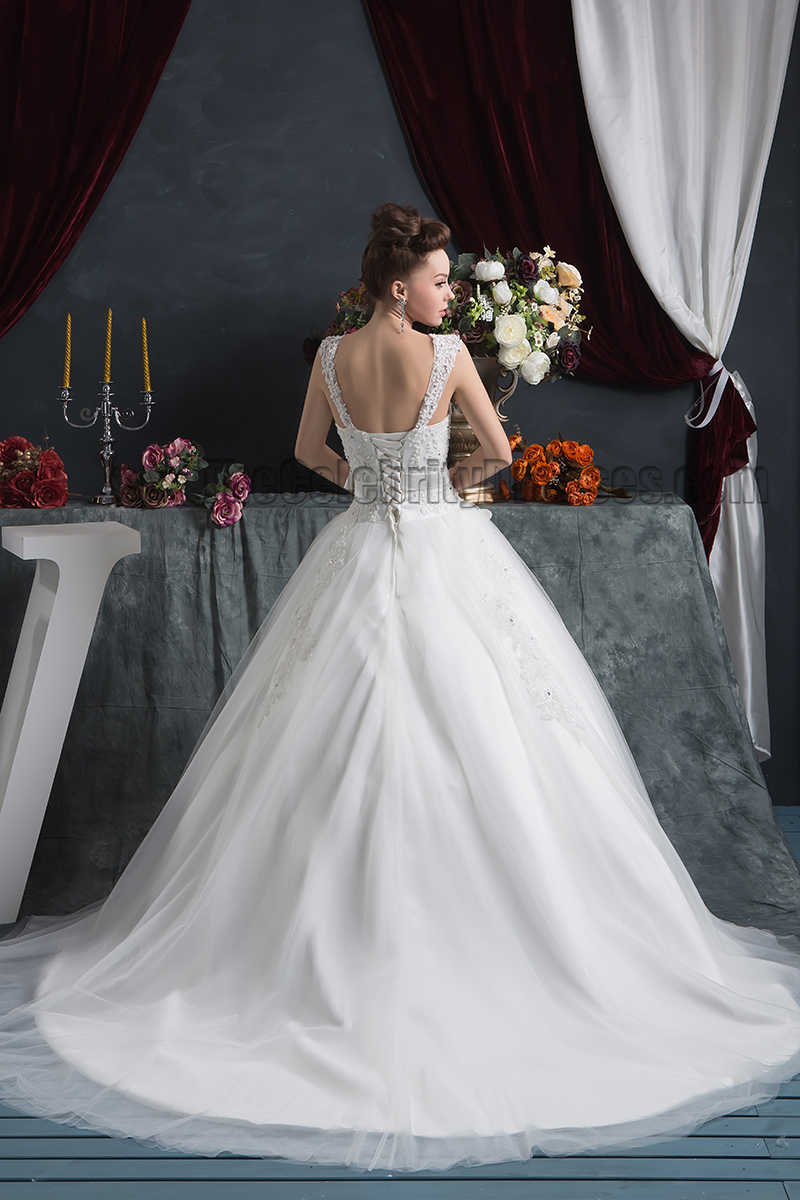 Ball Gown Sweetheart Chapel Train Wedding Dress With 3D Flowers ...