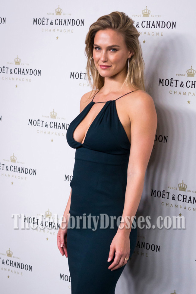 Bar Refaeli Black Form-Fitting Party Dress Moet & Chando Party ...