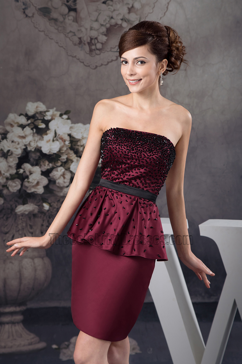 Beaded Strapless Burgundy Cocktail Party Graduation Dresses ...