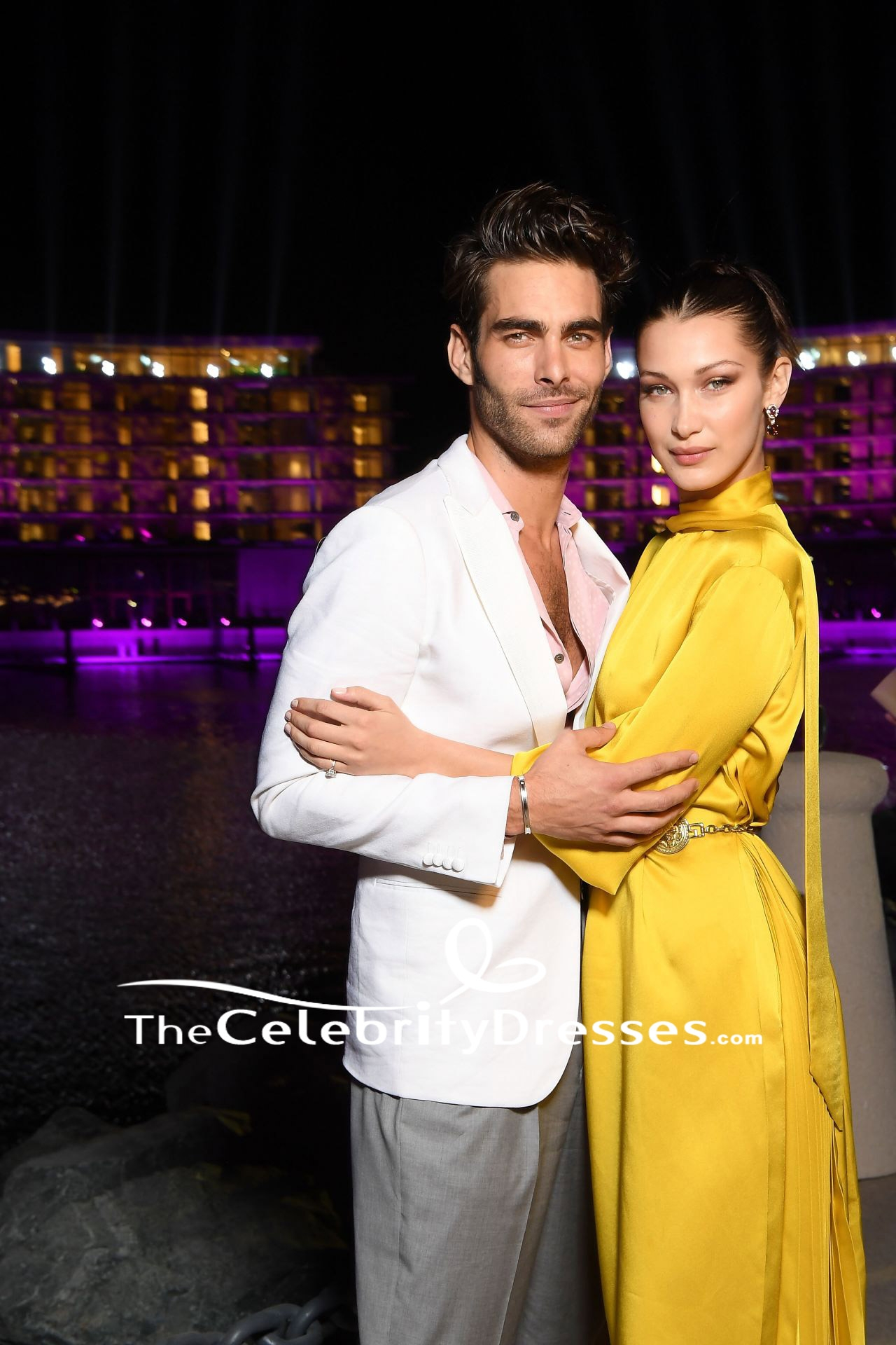 Bella Hadid Yellow Cut Out Party Dress With Sleeves Grand