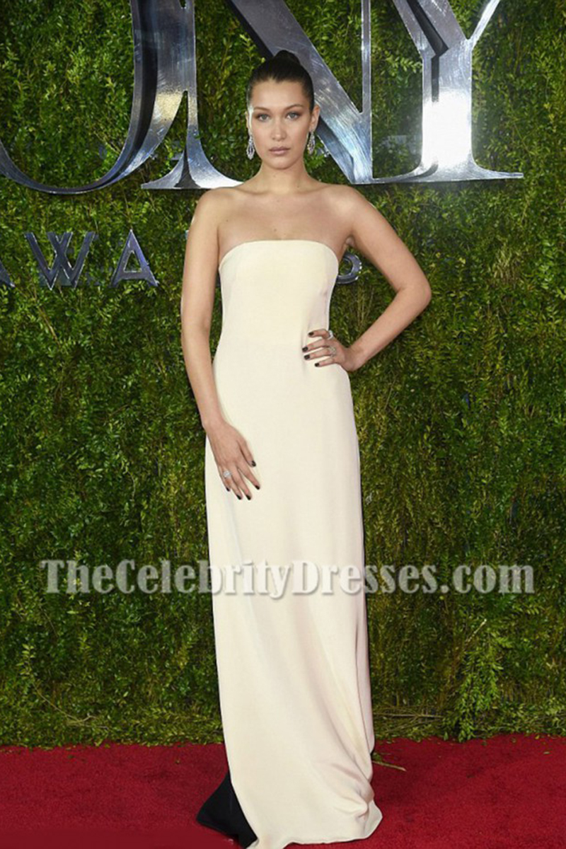 Bella Hadid Ivory Strapless Evening Prom Gown 2015 Tony Awards ...