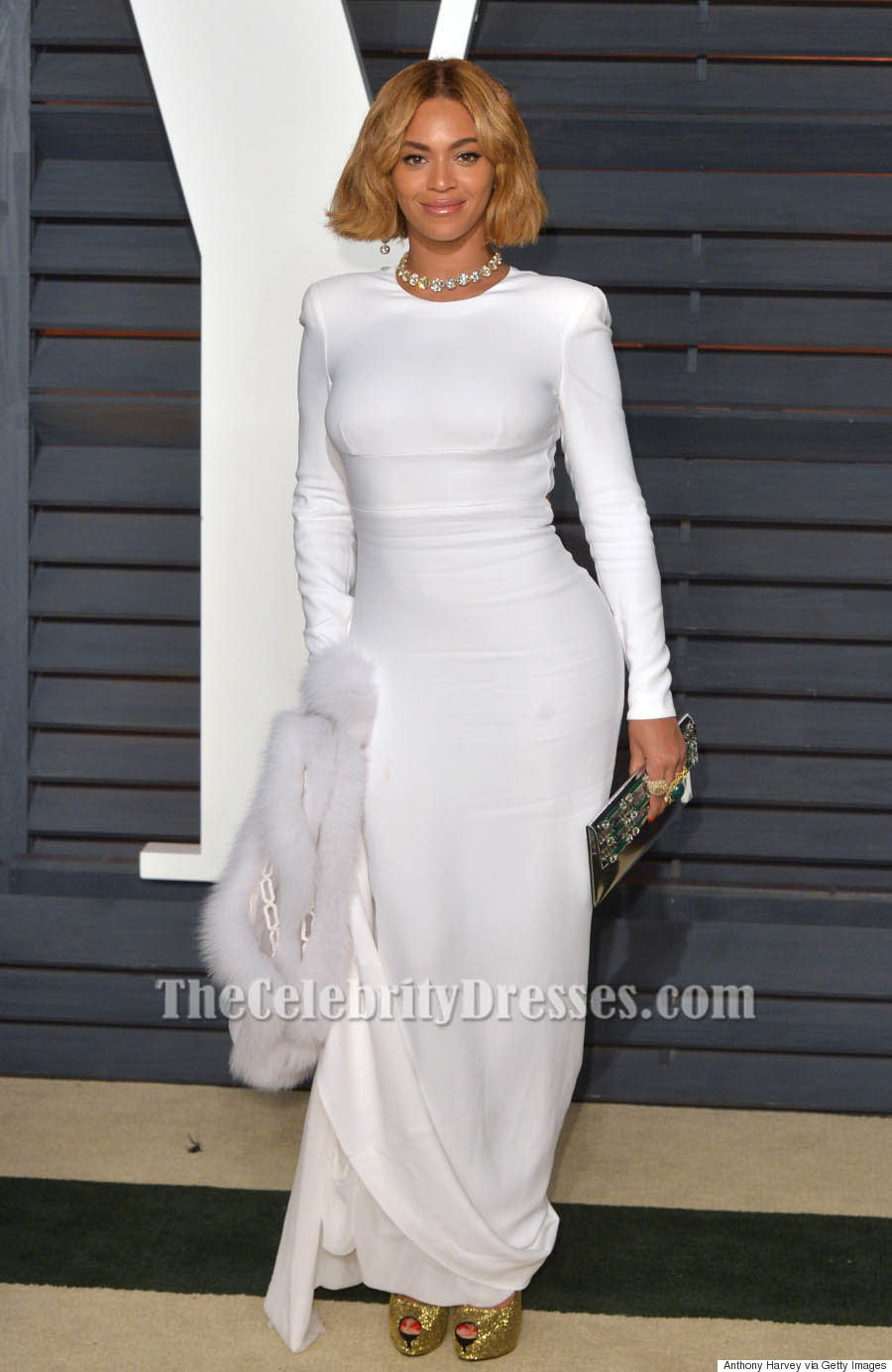 Beyonce White Long Sleeve Evening Dress 2015 Academy Awards ...