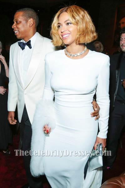 Beyonce White Long Sleeve Evening Dress 2015 Academy Awards