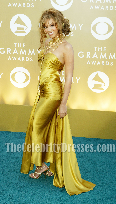 Beyonce Gold Sweetheart Prom Dress Grammy Awards Blue Carpet ...