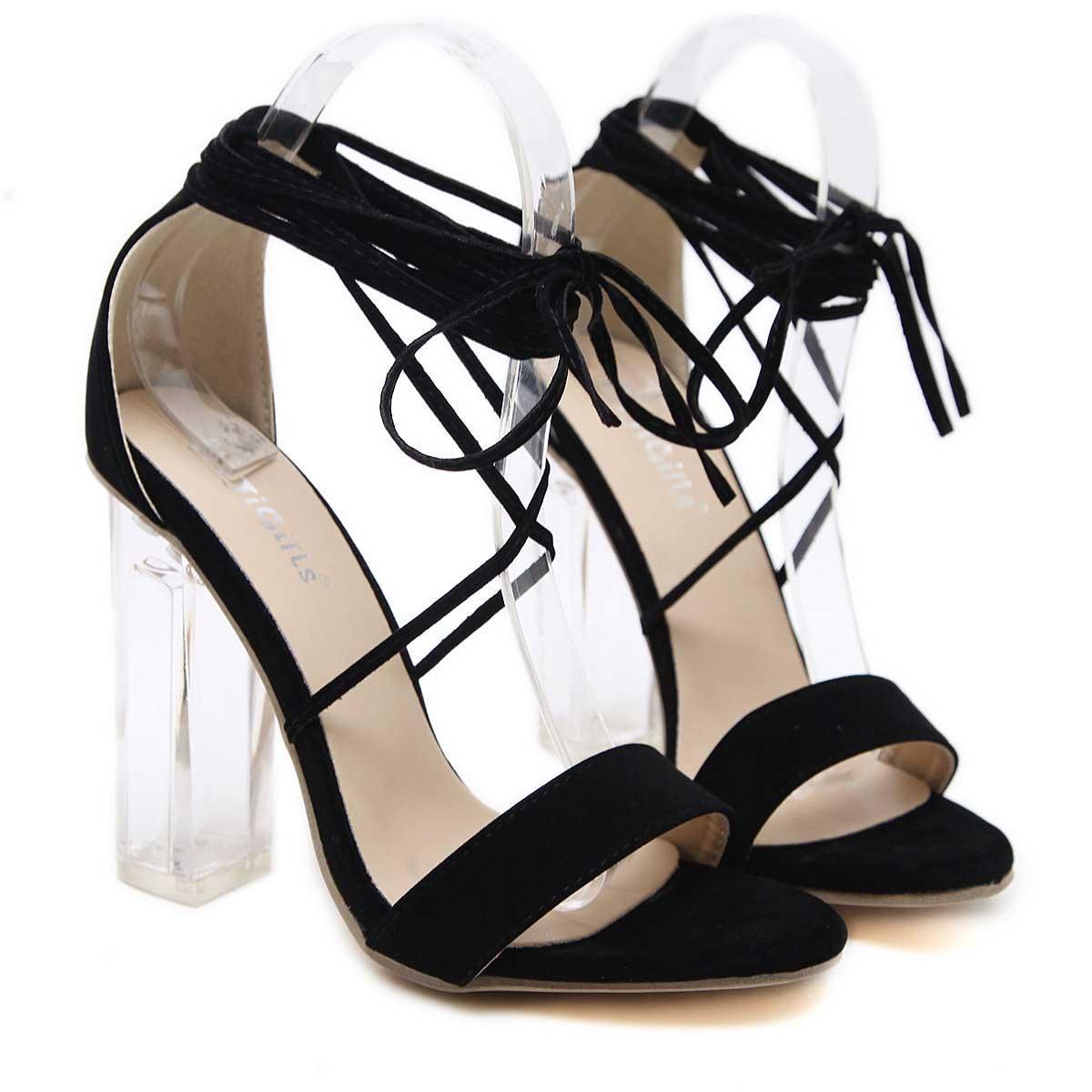 Black Chunky Heel Open-toe Women Tie