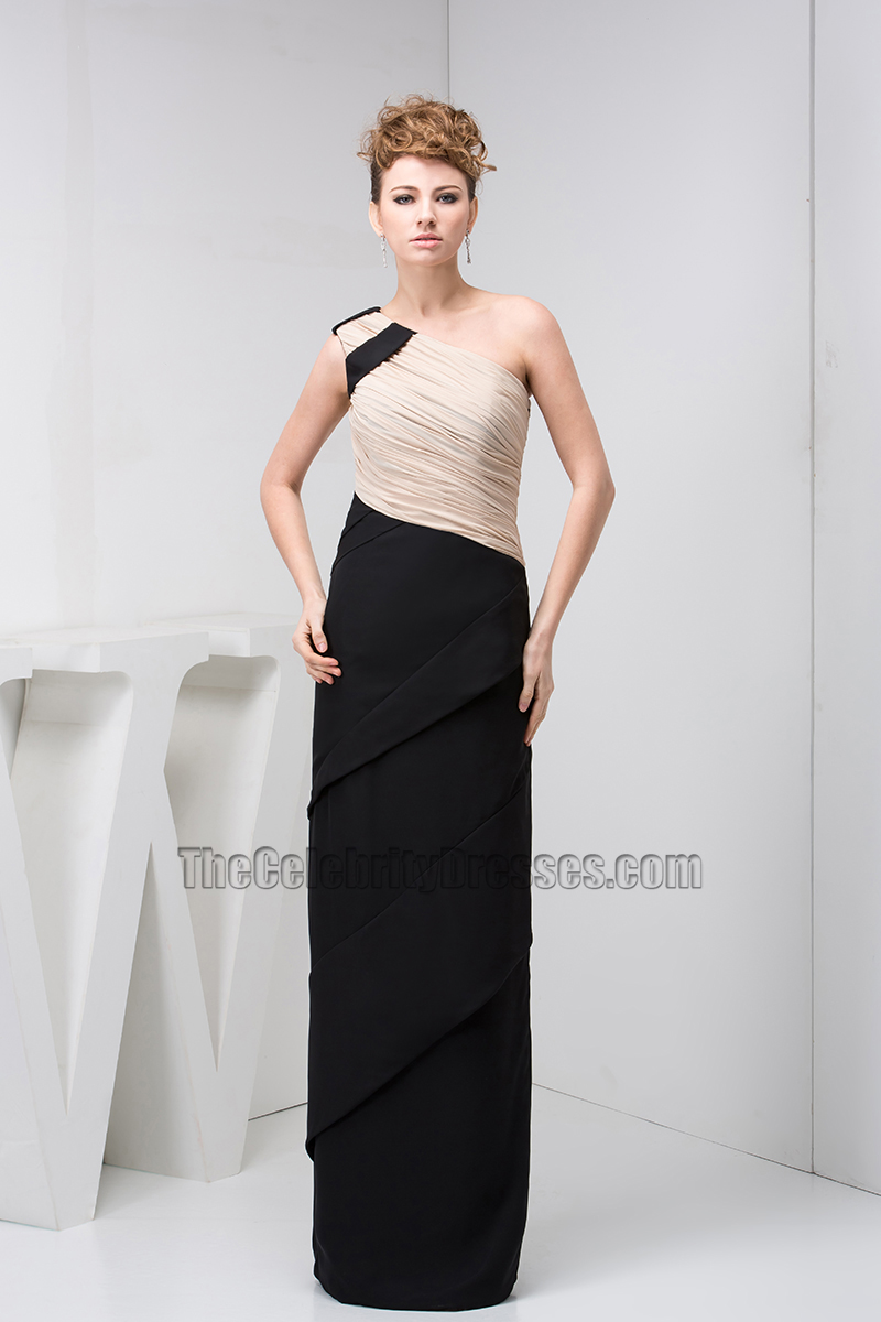 Black And Champagne One Shoulder Chiffon Prom Gown Evening Dress ...
