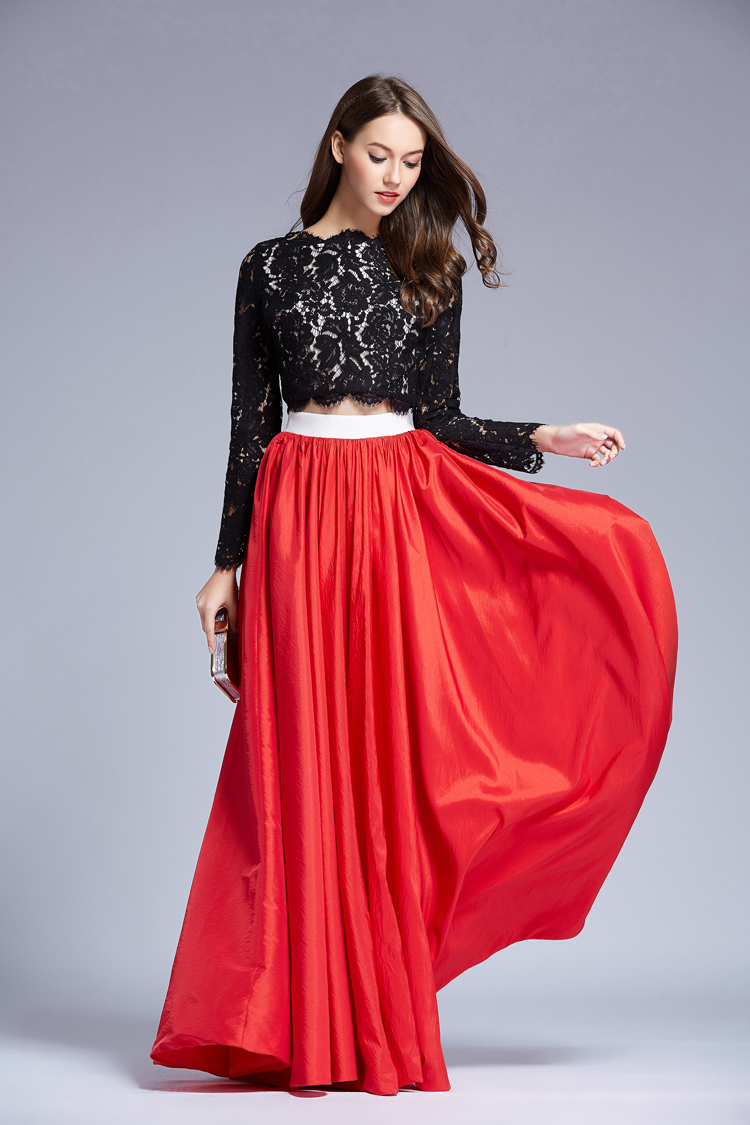 Black And Red 2 Pieces Prom Gown Long Sleeve Evening Dress ...