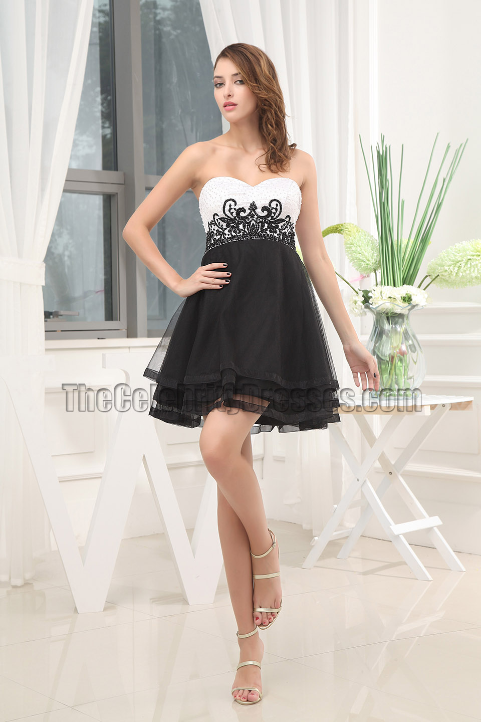8bc8a2f2eae0 Black And White Embroidery Party Cocktail Homecoming Dresses -  TheCelebrityDresses