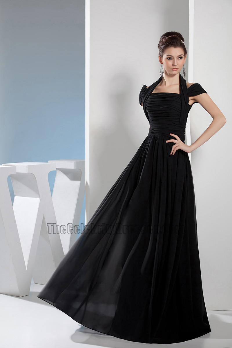 Black Chiffon A-Line Full Length Prom Dress Evening Gown ...