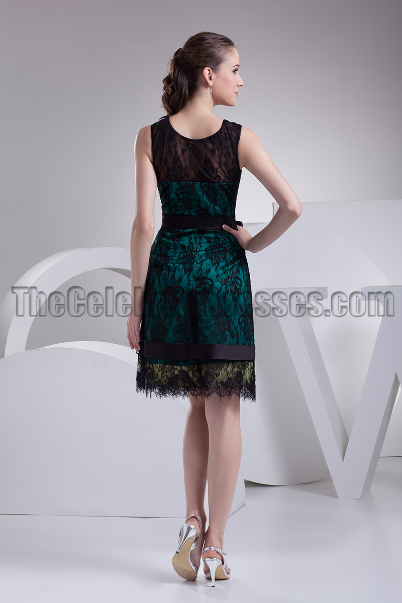 Knee Length Black Lace Cocktail Party Graduation Dresses ...