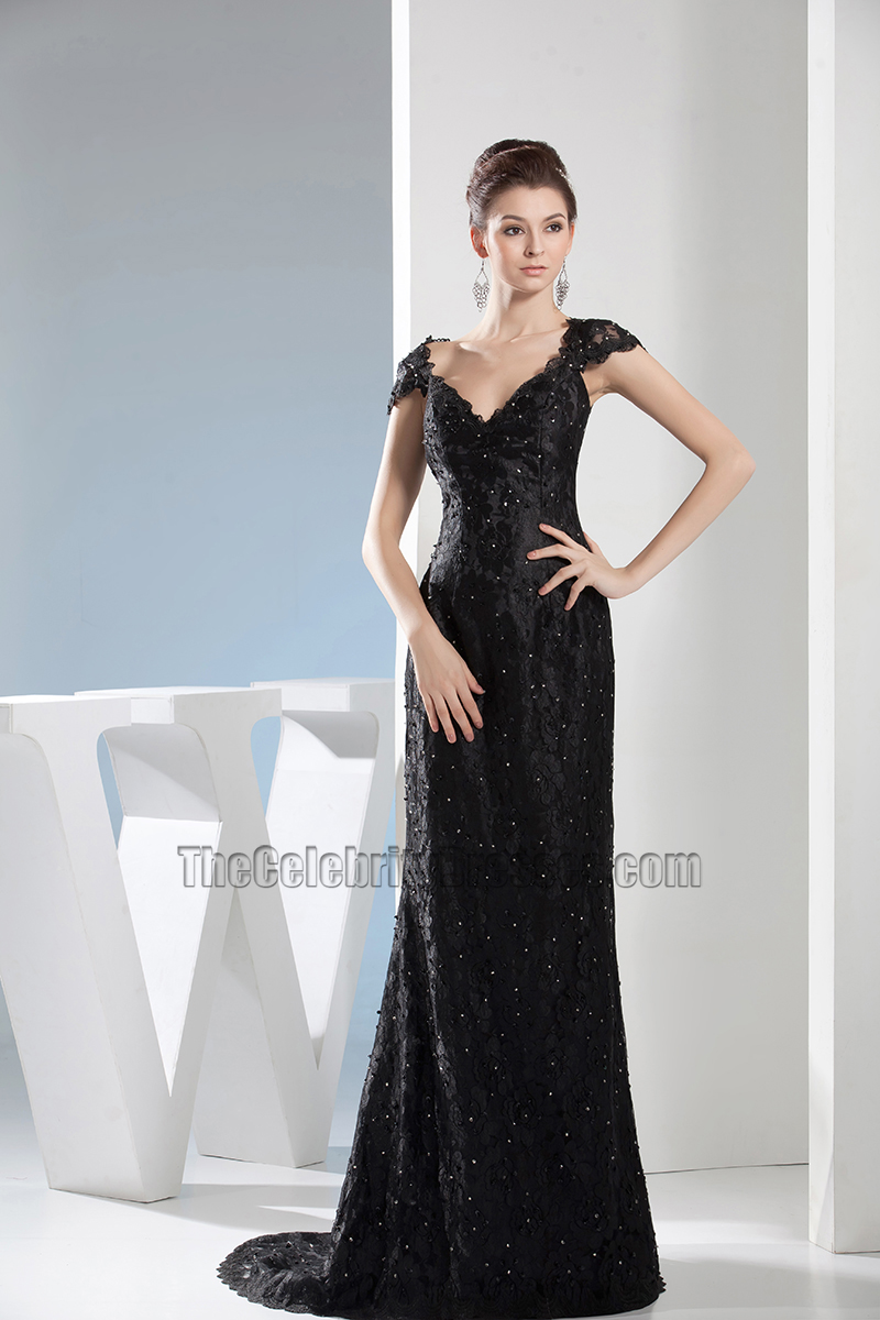 Black Lace V-Neck Formal Dress Evening Gown With Beading ...