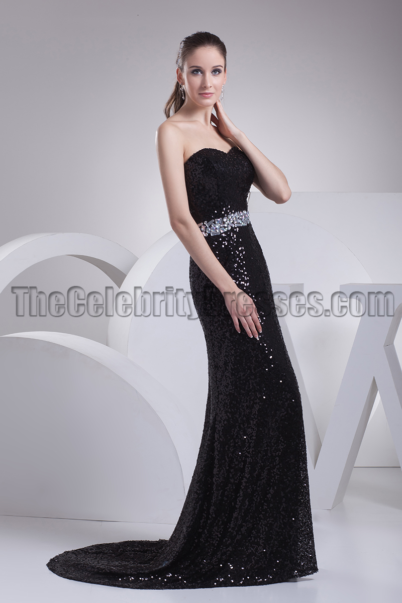 Black Sequined Strapless Formal Prom Dress Evening Gown ...