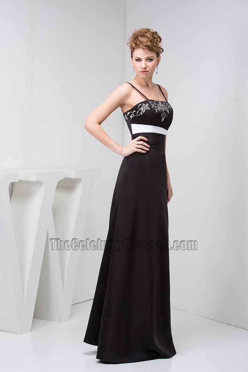 Black Spaghetti Straps Embroidered Evening Dresses