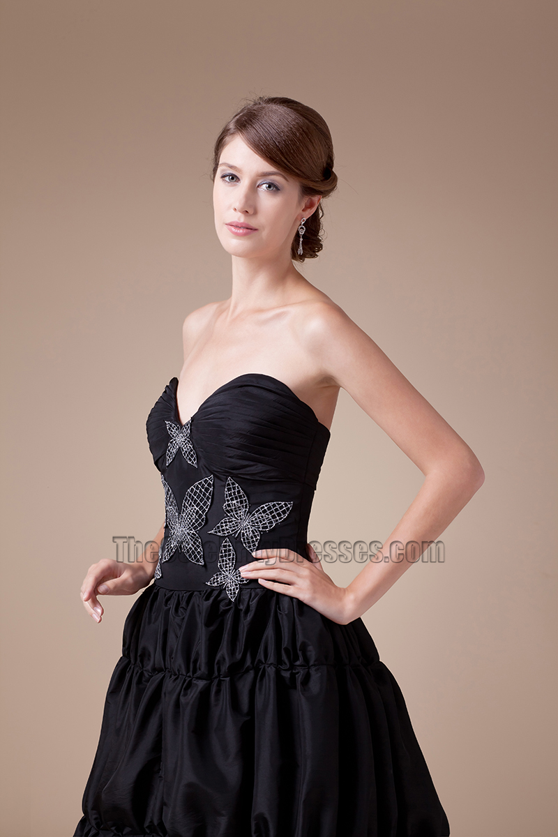 Black Strapless A-Line Full Length Prom Gown Evening Dress - TheCelebrityDresses
