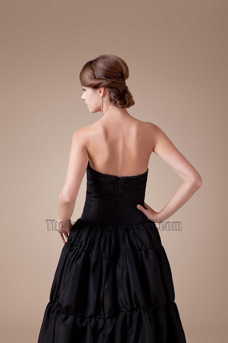 Black Strapless A Line Full Length Prom Gown Evening Dress