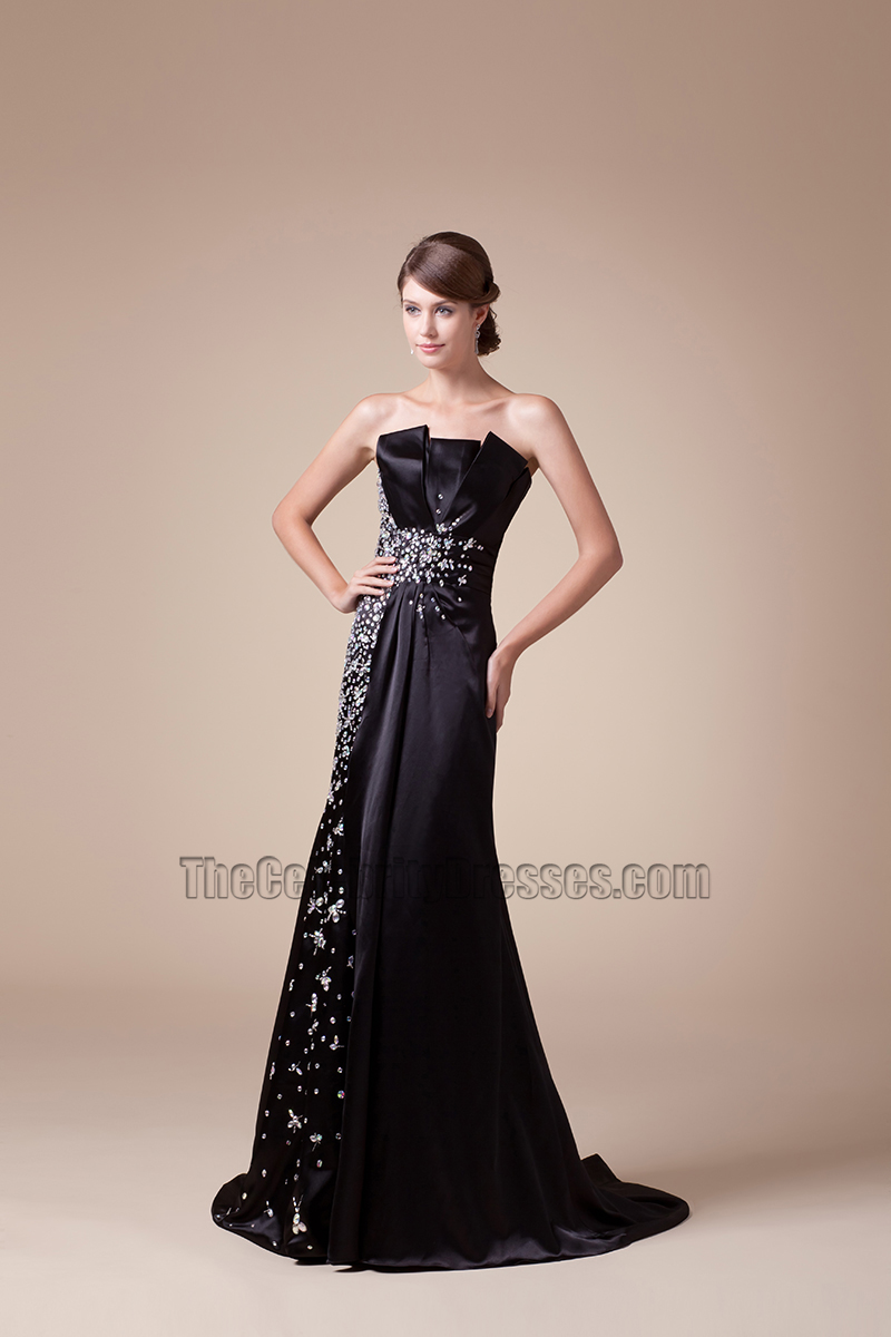 Black Strapless Beaded Formal Gown Prom Evening Dress ...