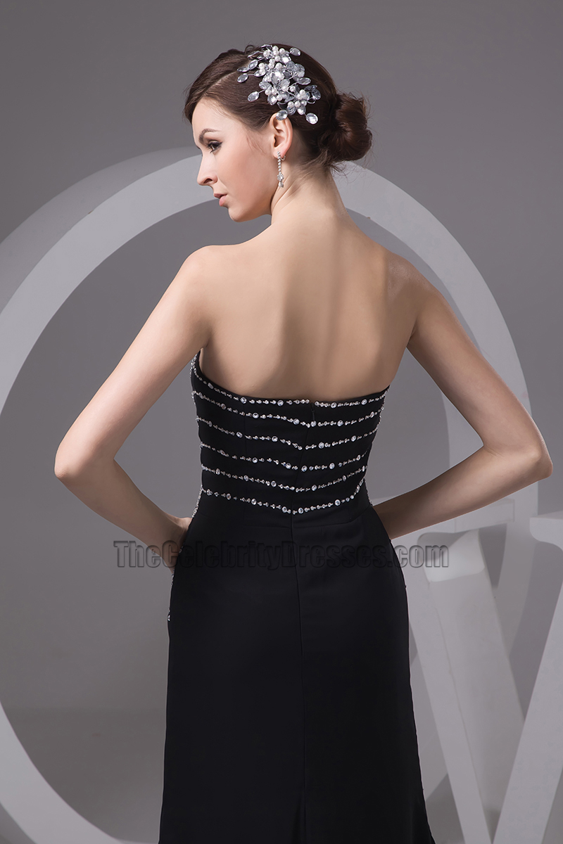 Black Strapless Beaded Evening Dress Formal Prom Gown ...