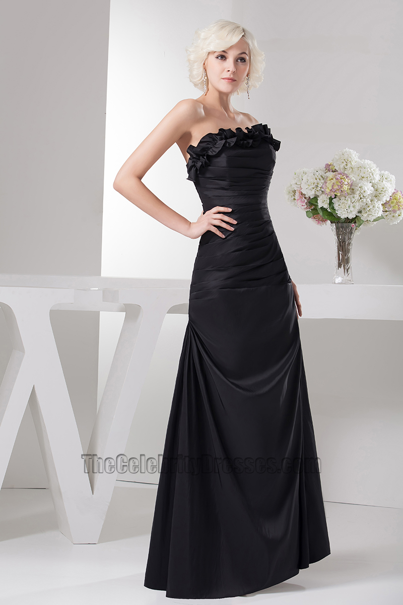 Floor Length Black Strapless Prom Gown Evening Dress With A Wrap ...