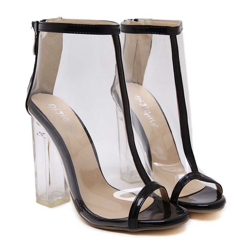 c997762a39c Black Transparent Summer Boot Sexy High Heels Fish Mouth Peep Toe Sandals -  TheCelebrityDresses