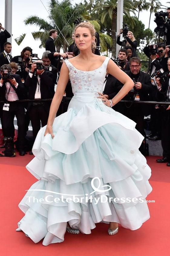 Blake Lively Pregnant Princess Ice Blue Beaded Ball Gown 2016 Cannes ...
