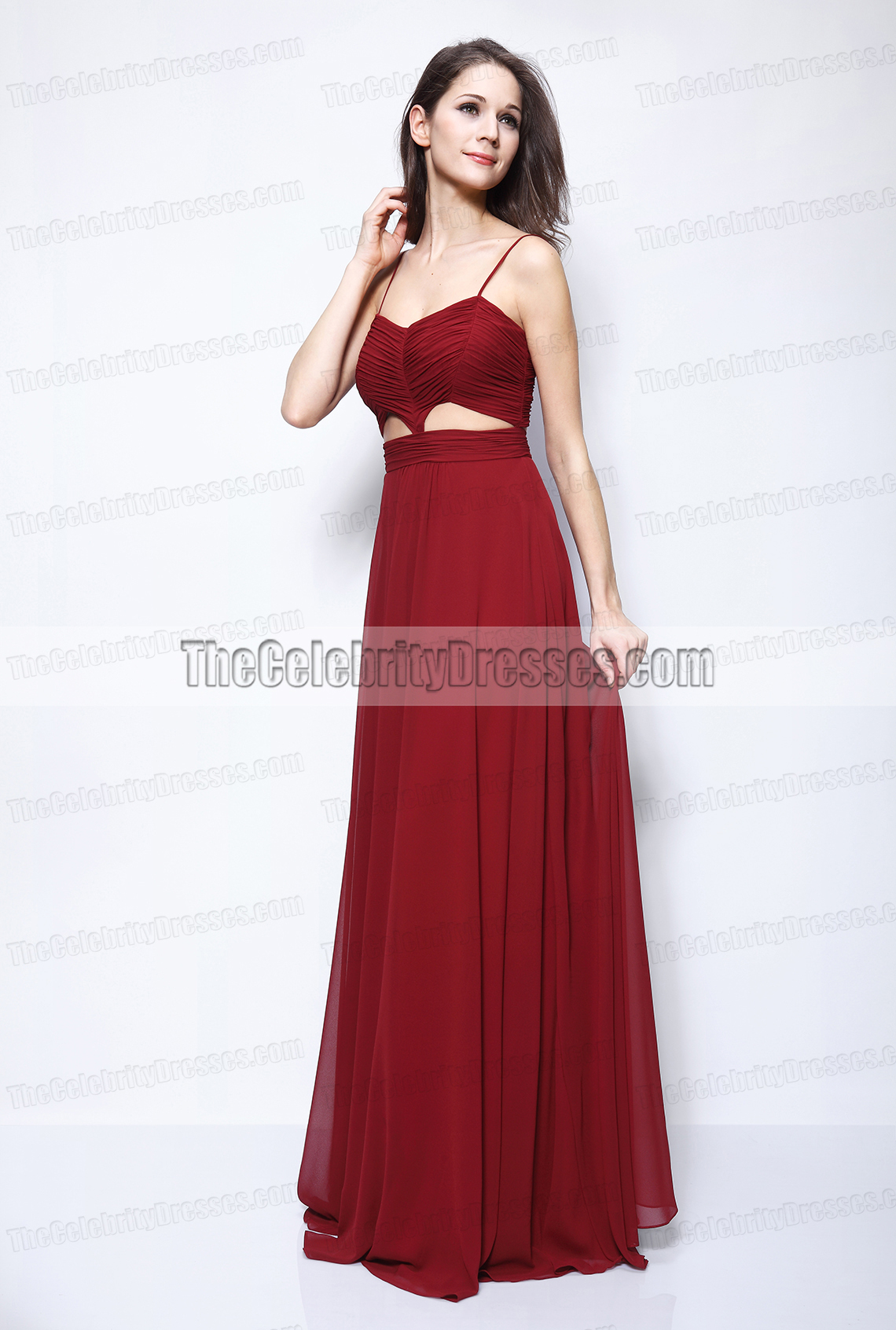 28dc492e3 Blake Lively Burgundy Cut Out Prom Dress Gossip Girl Fashion -  TheCelebrityDresses